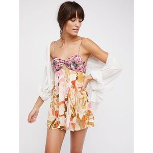 •Free People• Rows of Flowers Romper One Piece